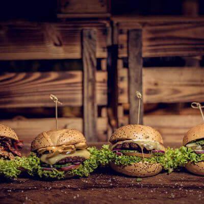 Verschiedene Burger Lieblingsburger Firmencatering